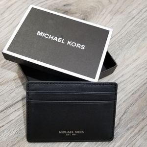 Michael Kors Black Leather Card Wallet Holder